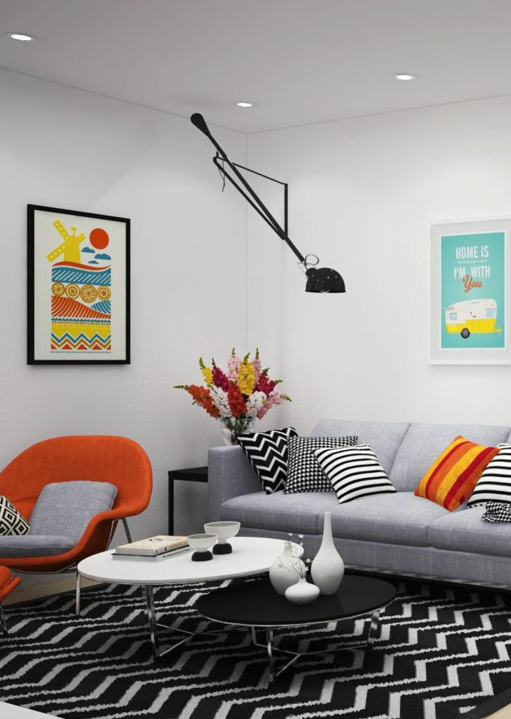 Appartement citadin meubl selon les principes du design - Charmant appartement lumineux touches couleurs ...