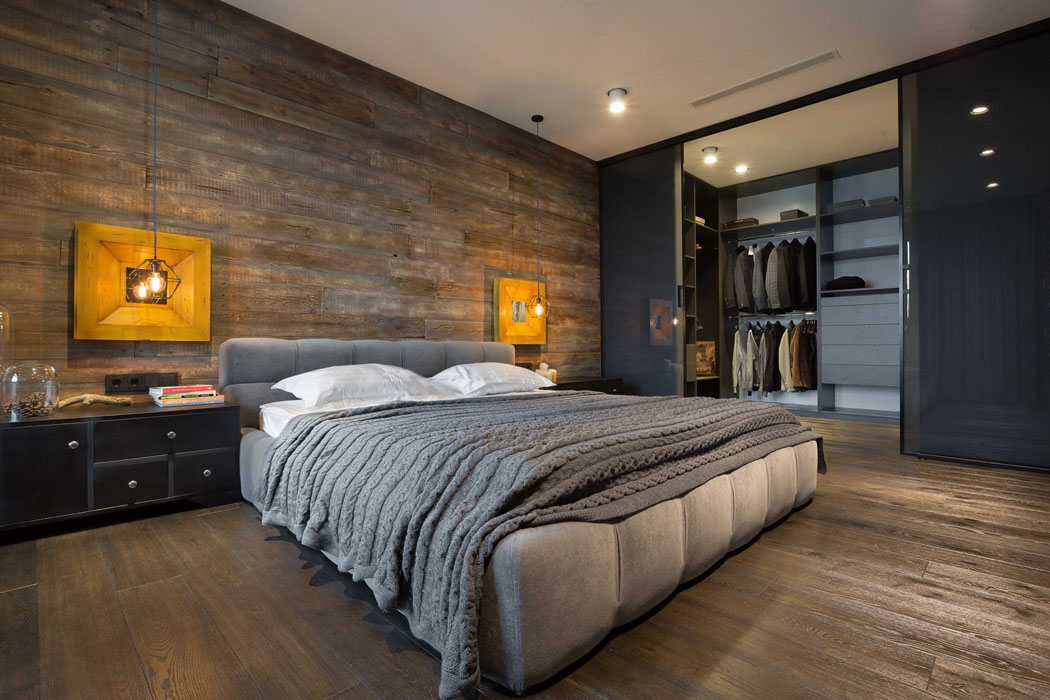 Beau loft industriel kiev au design int rieur r solument for Chambre homme