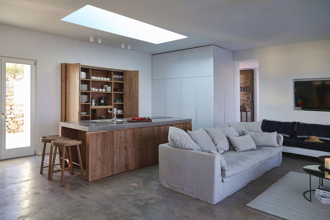 villa de vacances en gr ce au design int rieur minimaliste rustique et l gant la fois. Black Bedroom Furniture Sets. Home Design Ideas