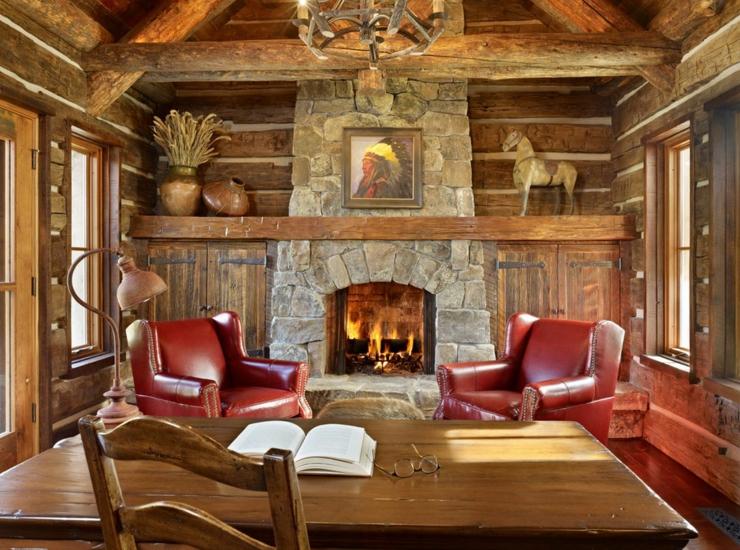 Maison rustique enti rement en bois au montana tats unis vivons maison - Maison avec cheminee ...