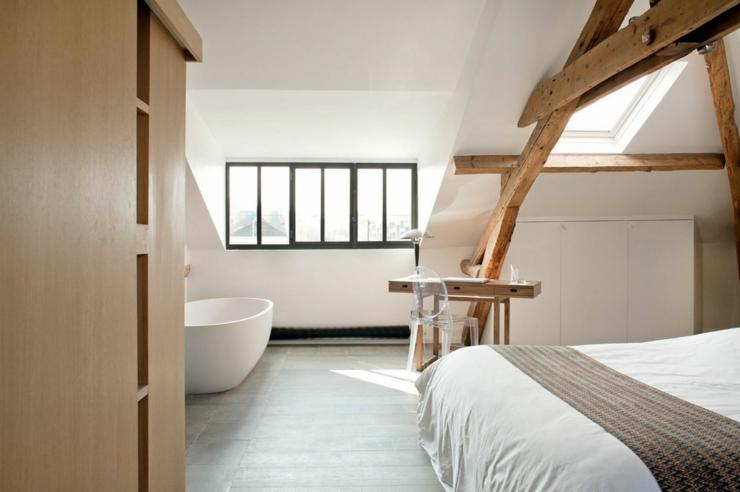 Ancienne maison dans la r gion parisienne totalement for Separation chambre salle de bain photos