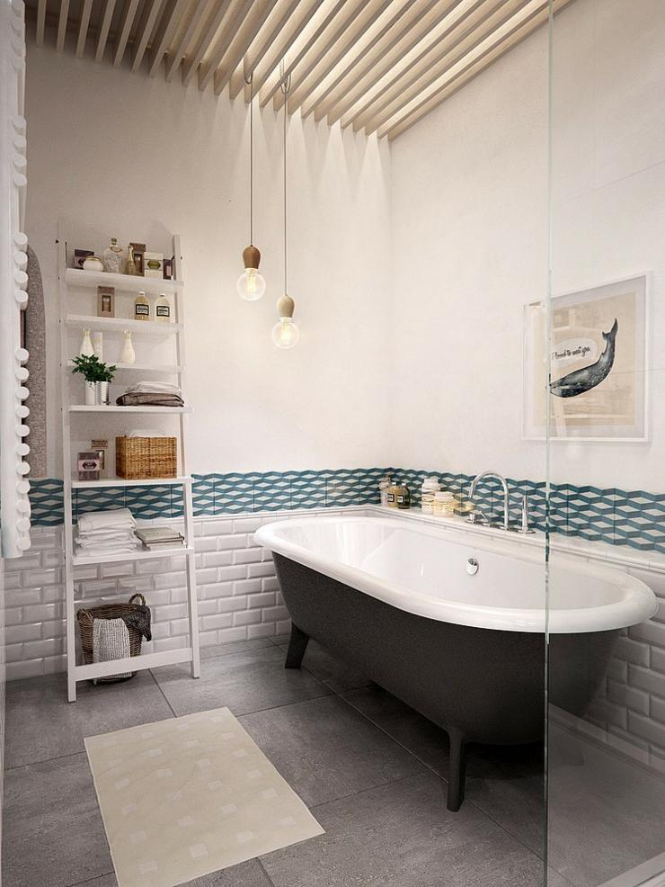 Appartement moderne aux faux airs d un loft vivons maison for Salle de bain moderne avec baignoire