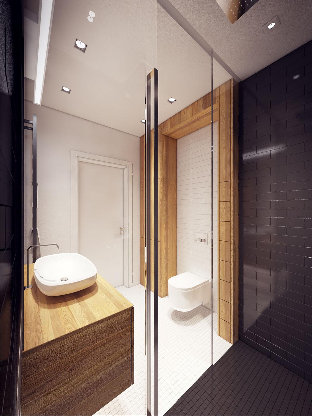Appartement moderne au design minimaliste et chaleureux for Salle de bain rustique moderne