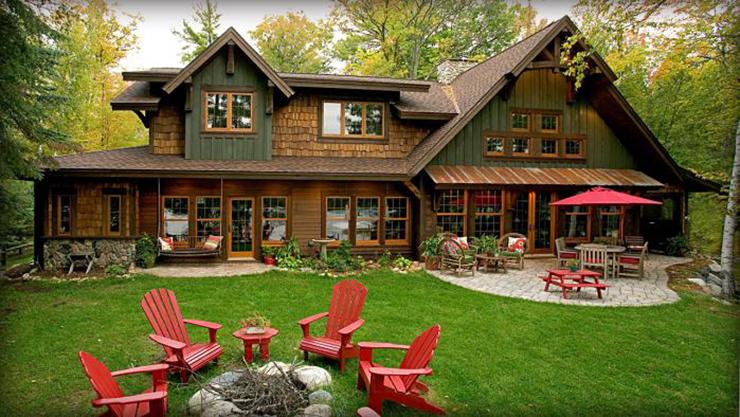 Belle maison avec vue sur le lac au design int rieur - Tres belle maison rustique cotiere californie ...