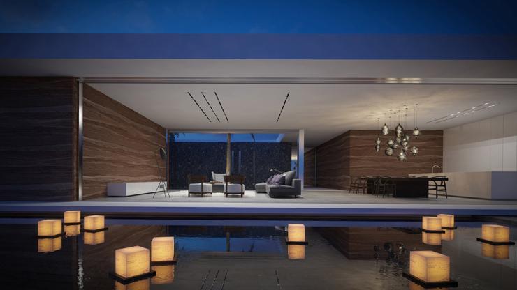Magnifique maison d architecte mayotte avec une vue for Piscine eclairee la nuit