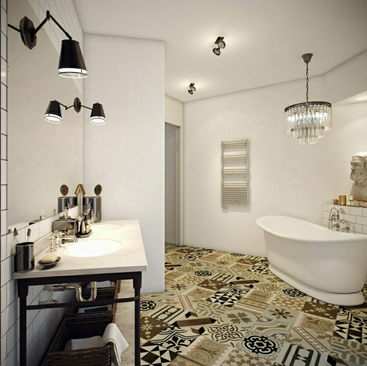 carrelage salle de bain vintage avec des. Black Bedroom Furniture Sets. Home Design Ideas