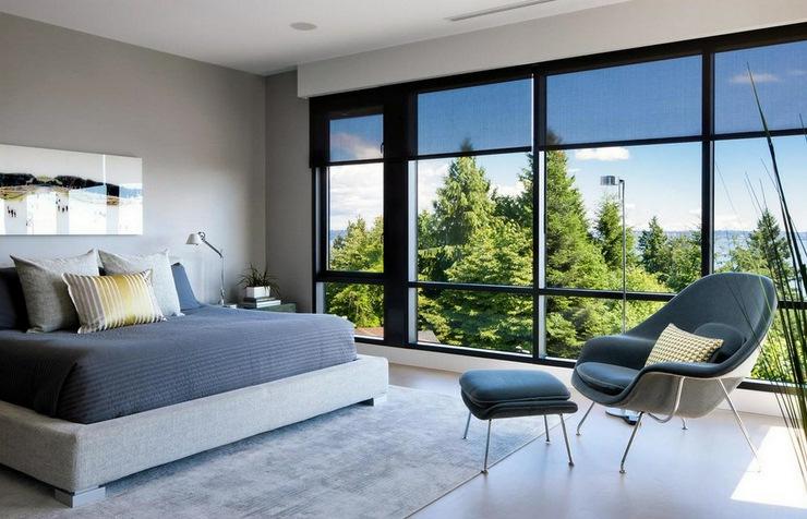 chambre moderne de luxe prestigieuse maison moderne avec vue sur la mer vancouver - Belle Chambre Moderne