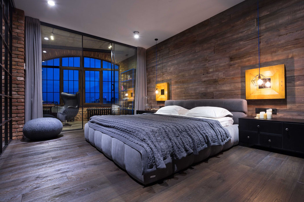Beau loft industriel kiev au design int rieur r solument for Chambre loft
