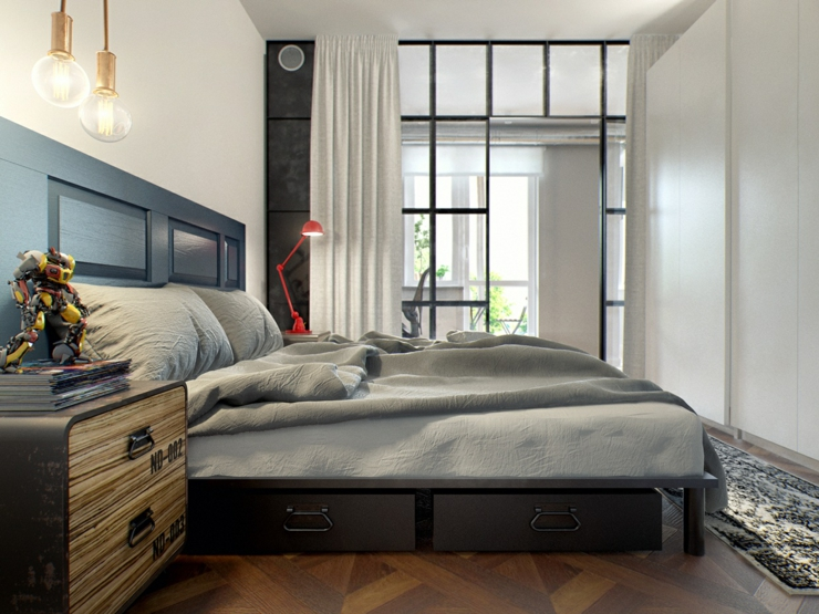 Int rieur design moderne pour un petit appartement minsk bi lorussie vivons maison - Agencement chambre a coucher ...