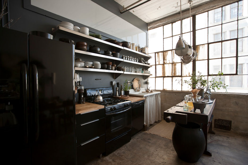 Loft de ville new york au design int rieur inspir par for Cuisine industrielle loft