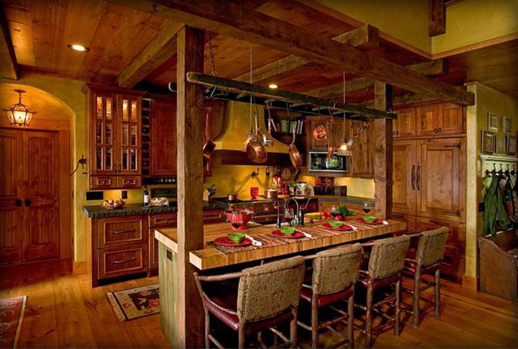 Belle maison avec vue sur le lac au design int rieur for Cuisine bois rustique