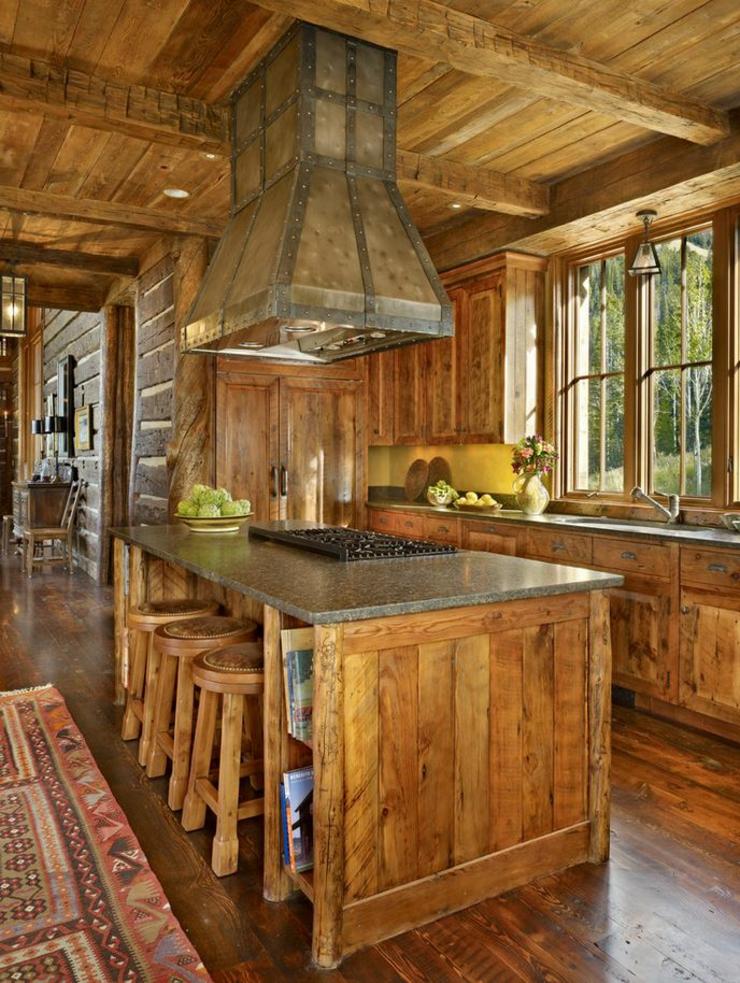 Maison rustique enti rement en bois au montana tats for Amenagement cuisine rustique