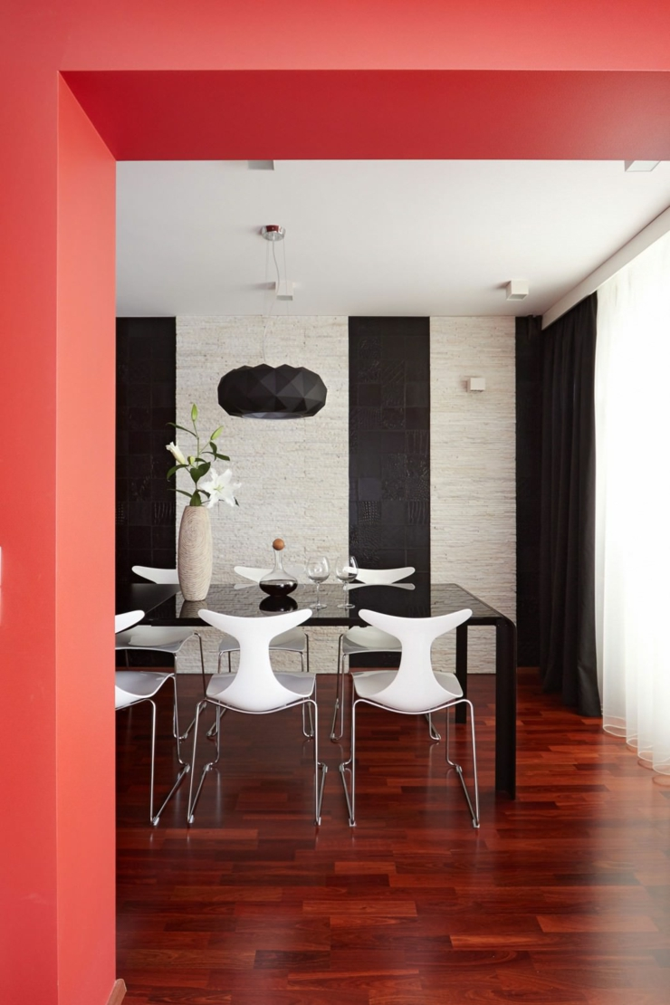 D co maison en rouge pour un appartement moderne vivons for Interieur deco maison