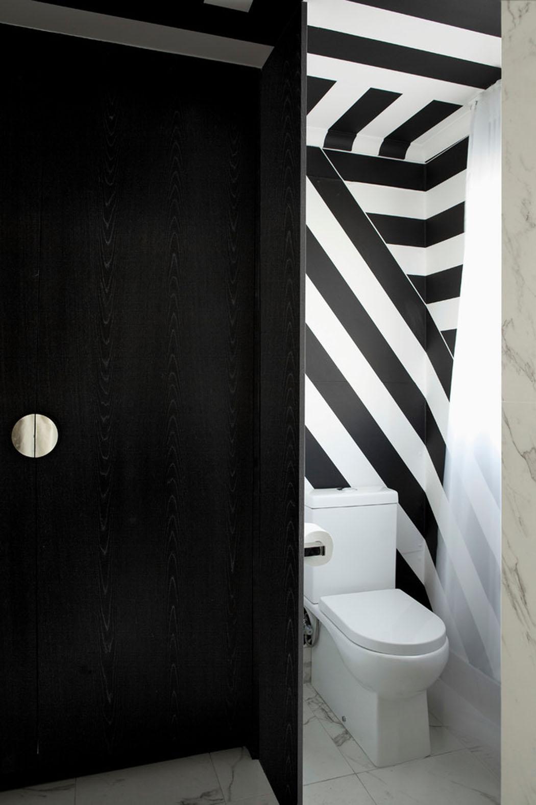 Decoration Toilettes Noir Et Blanc : Bel appartement design à brisbane la déco élégante en