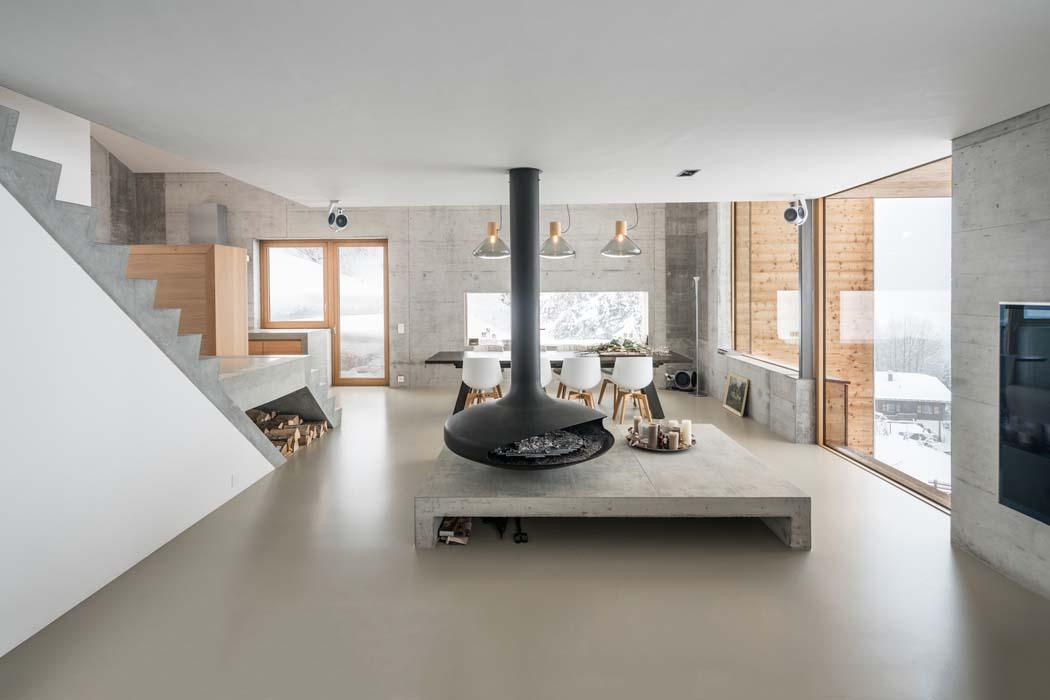 design minimaliste moderne et clectique de ce chalet de montagne luxueux et familial