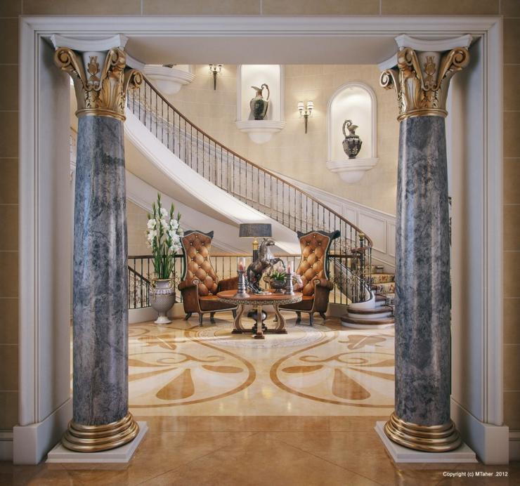 Villa de luxe au design d int rieur oriental au qatar vivons maison - Decoration escalier interieur maison ...
