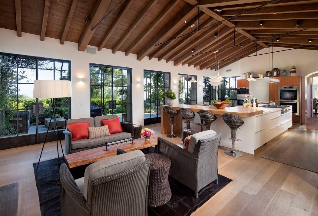 Maison traditionnelle de standing santa barbara aux for Salon ouvert sur terrasse