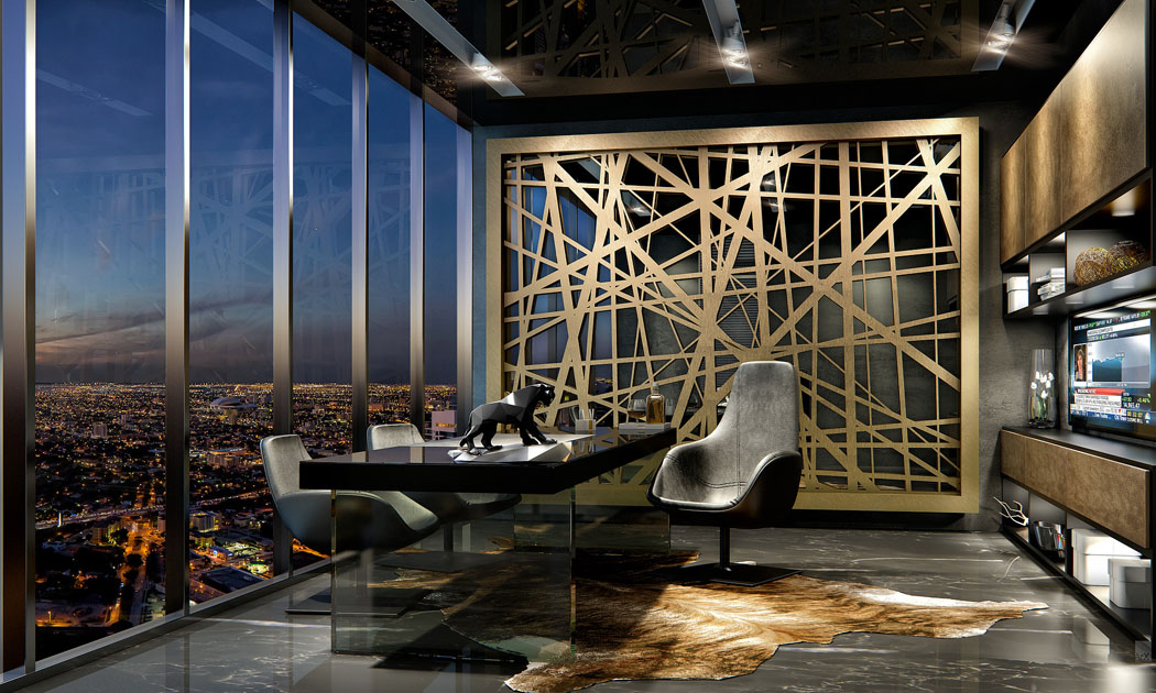 bureau design masculin penthouse miami