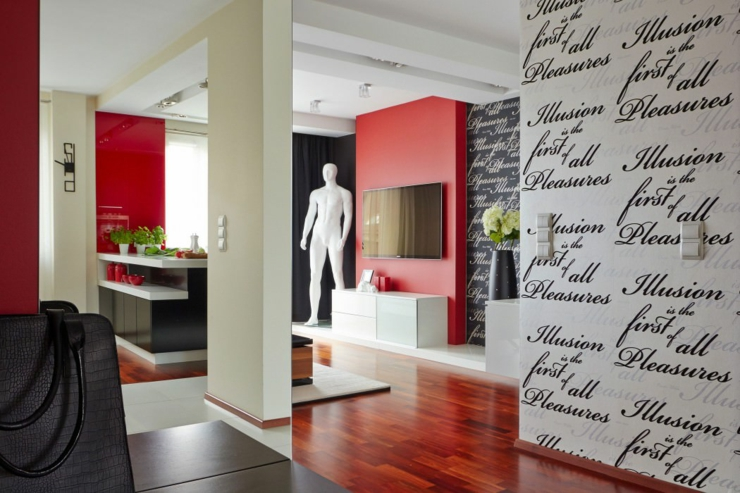D co maison en rouge pour un appartement moderne vivons maison for Deco maison contemporaine design