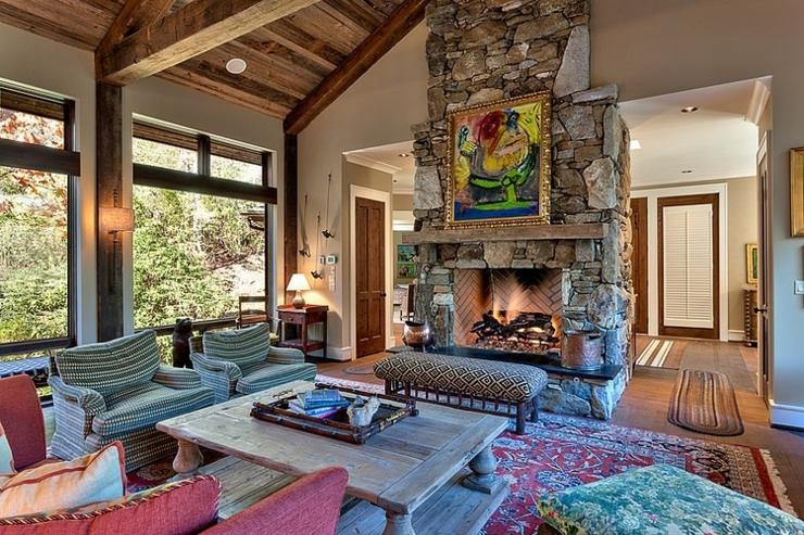chalet en bois luxueux b ti au dessus d un cours d eau. Black Bedroom Furniture Sets. Home Design Ideas