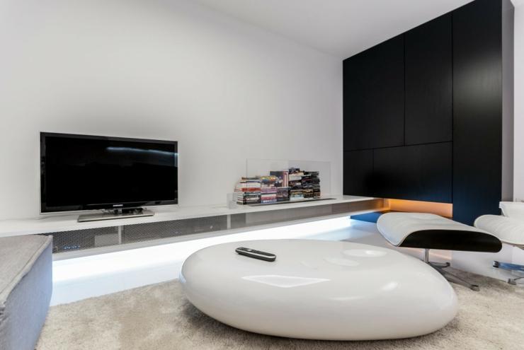 Intérieur design moderne avec des touches en noir séjour ameublement design futuriste