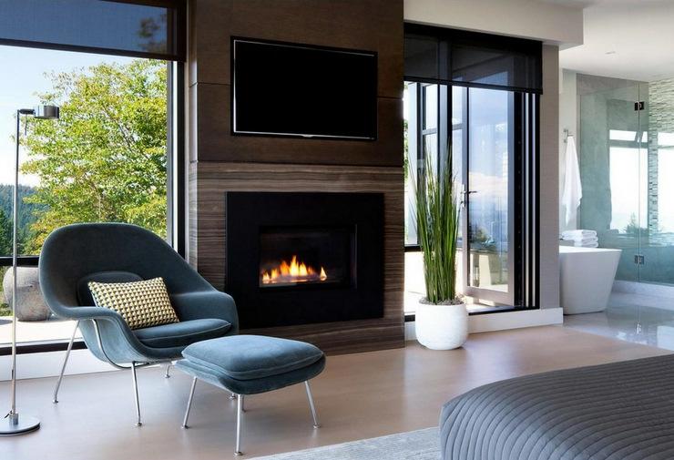 Prestigieuse maison moderne avec vue sur la mer for Salones con chimeneas electricas
