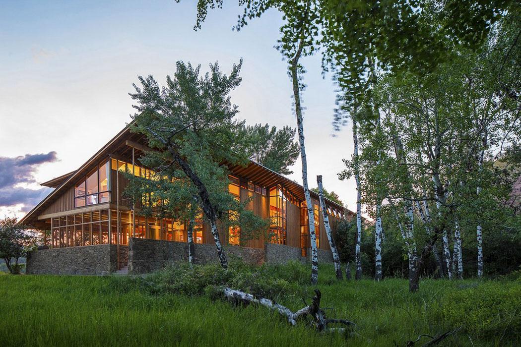 Moderne et accueillante maison en bois au c ur de la for Decoration maison montagne
