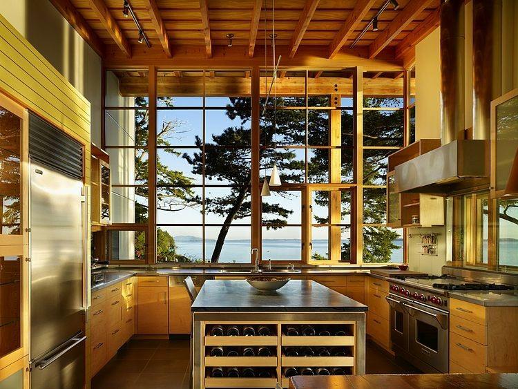 baie vitre vue splendide sur lac maison en bois with cuisine originale en bois - Cuisine Originale En Bois