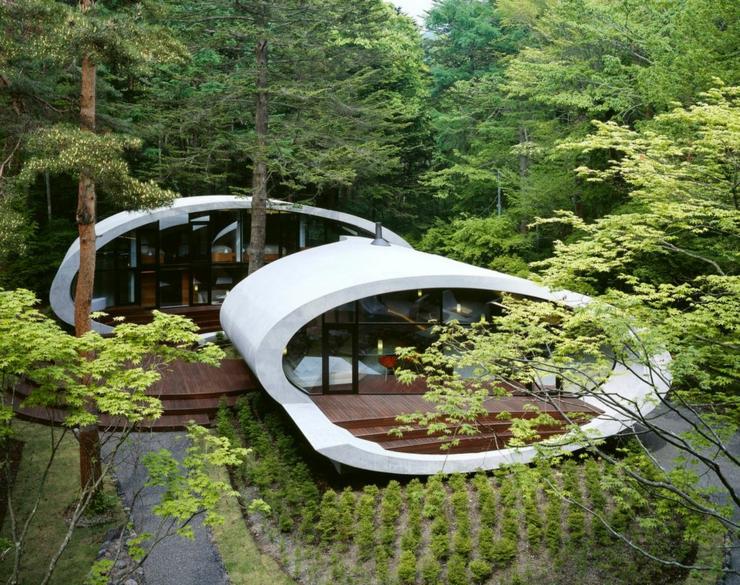 Célèbre Maison moderne japonaise à l'architecture futuriste à Nagano  DH12
