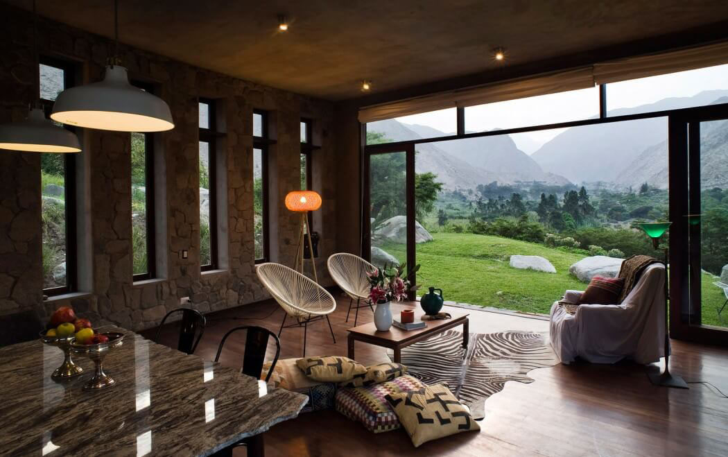 Maison rustique de luxe situ e au c ur de la nature - Maison avec baie vitree ...