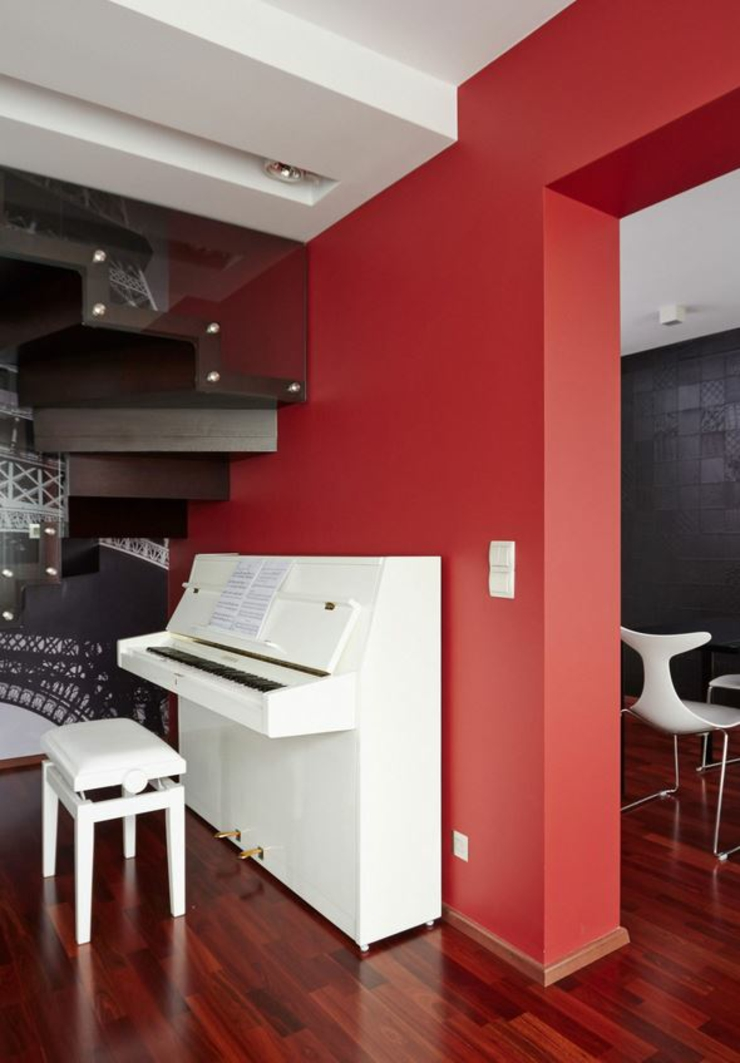 D co maison en rouge pour un appartement moderne vivons for Couleur interieur maison design