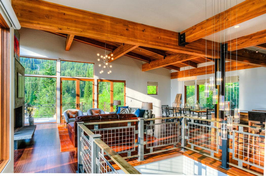 beau chalet de ski au montana au design rustique et. Black Bedroom Furniture Sets. Home Design Ideas