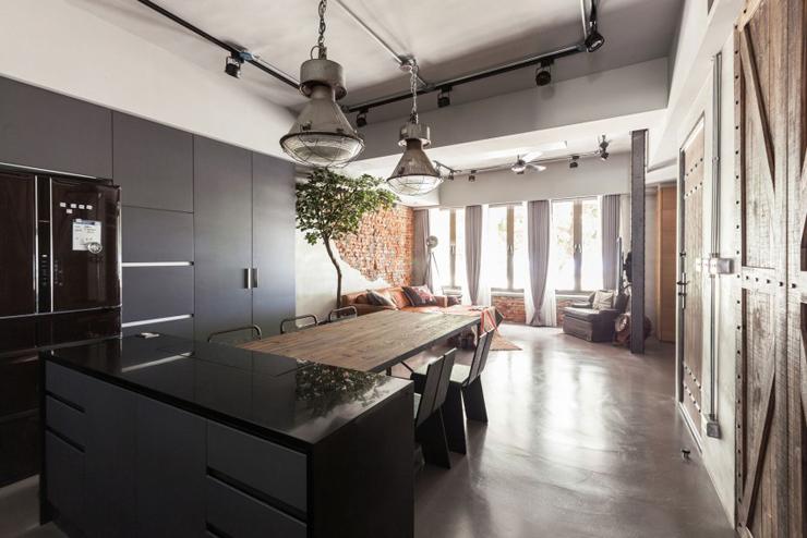appartement moderne taipei au design industriel et rustique la fois vivons maison. Black Bedroom Furniture Sets. Home Design Ideas