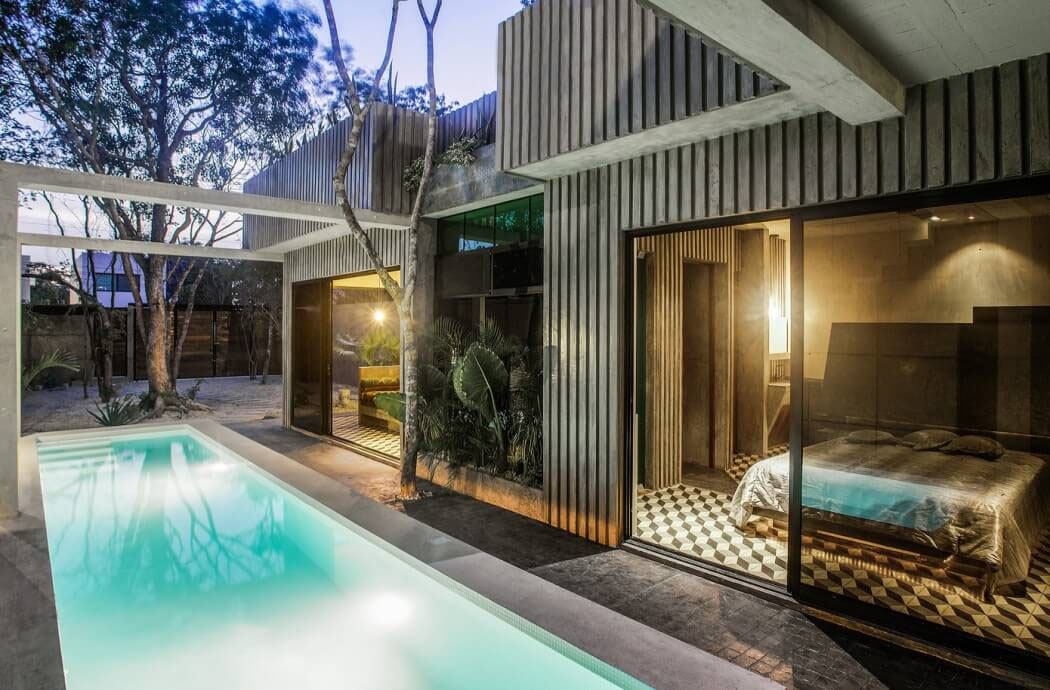 belle maison de vacances la d co industrielle tulum au mexique vivons maison. Black Bedroom Furniture Sets. Home Design Ideas