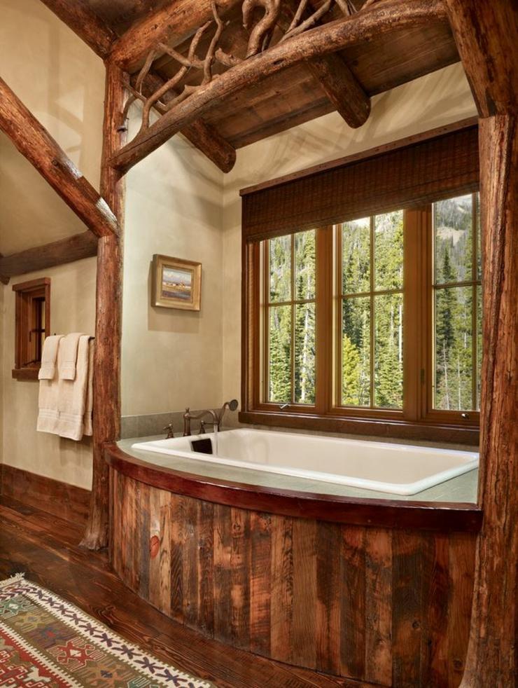 Maison rustique enti rement en bois au montana tats unis vivons maison for Chambre de bain rustique