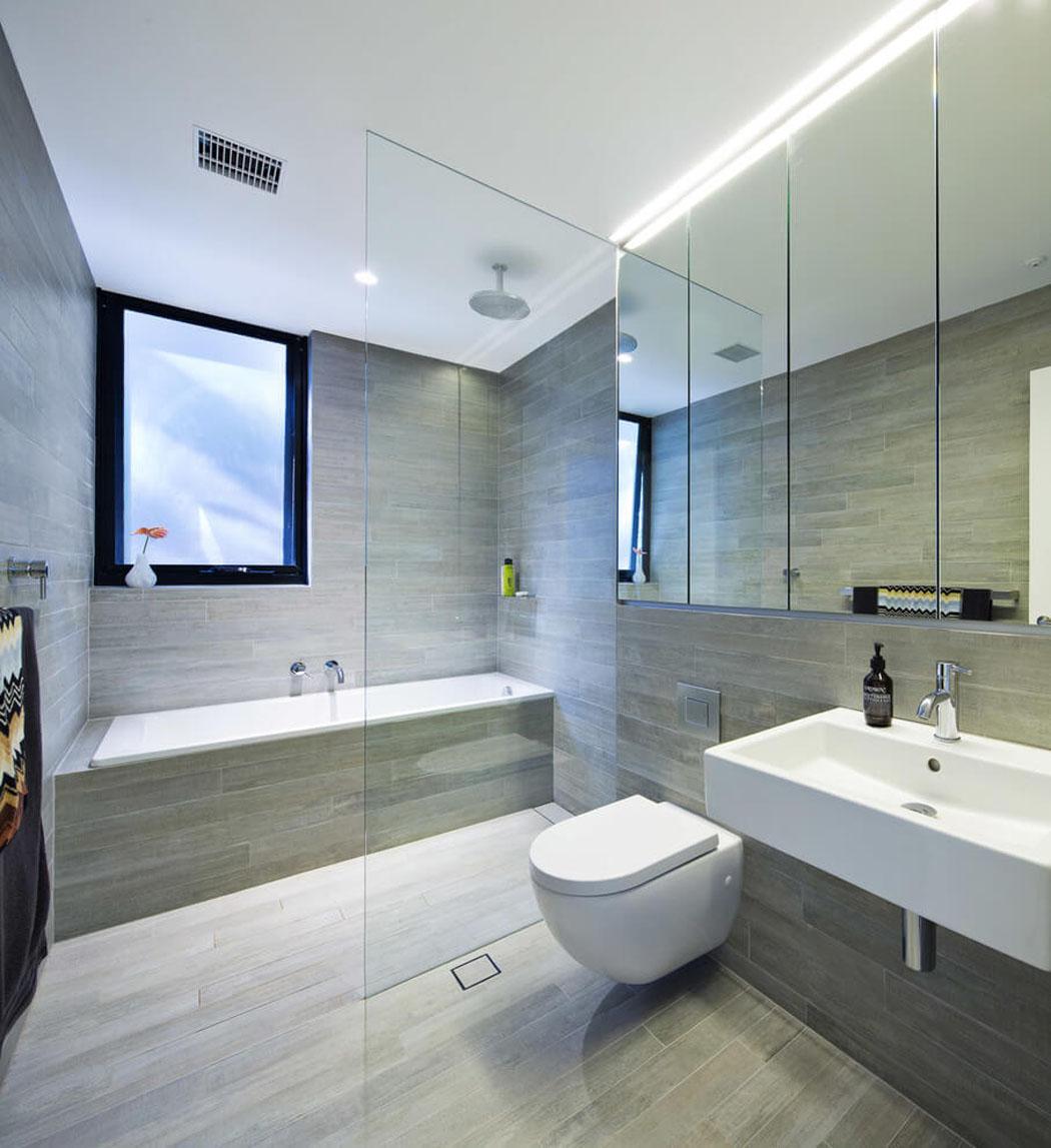 Moderne maison avec vue splendide au c ur de sydney - Plan salle de bain douche et baignoire ...