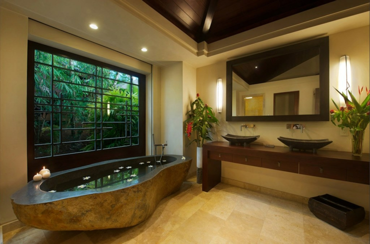 Vacances hawaii extraordinaires dans la kai vista villa de luxe vivons maison - Salle de bain exotique ...