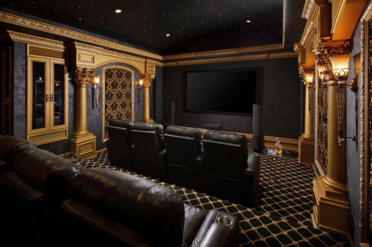 salle de cinema maison salle de cinma prive salle de cinma maison au look trs vintage salle. Black Bedroom Furniture Sets. Home Design Ideas