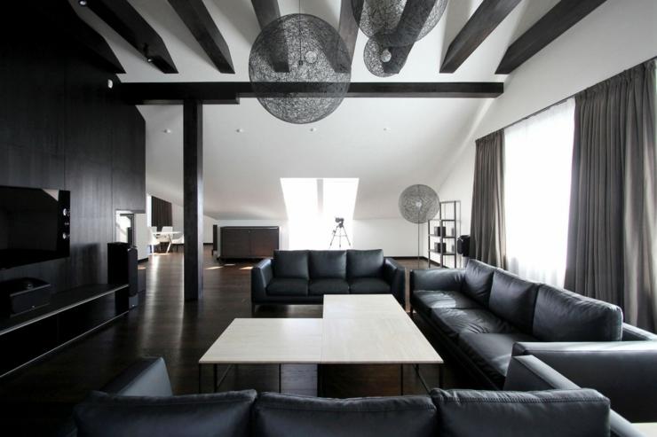 salon parquet fonc appartement moderne amnag dans les combles dun immeuble - Salle A Manger Parquet Bois