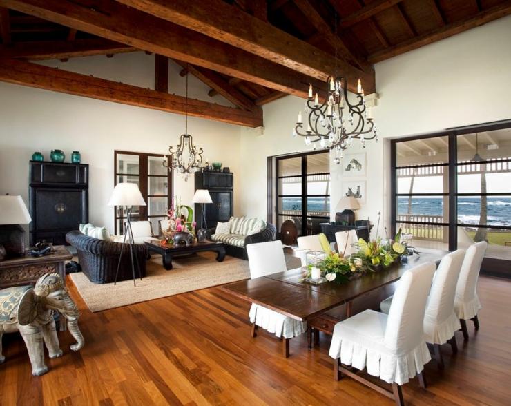 Rustique et exotique r sidence de vacances hawa Hawaiian home interior design