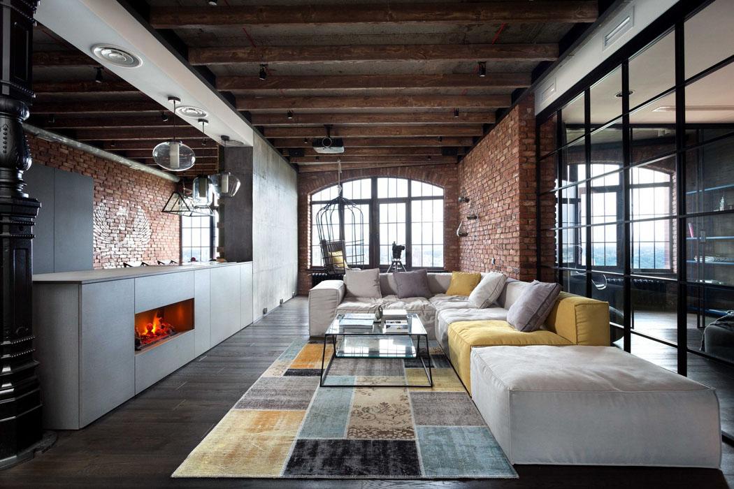 Beau loft industriel kiev au design int rieur r solument masculin vivons - Loft design immobilier ...