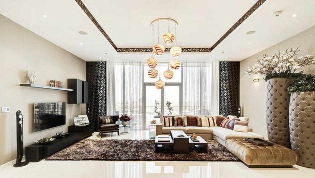 Luxueux appartement avec vue duba vivons maison for Living room designs in dubai
