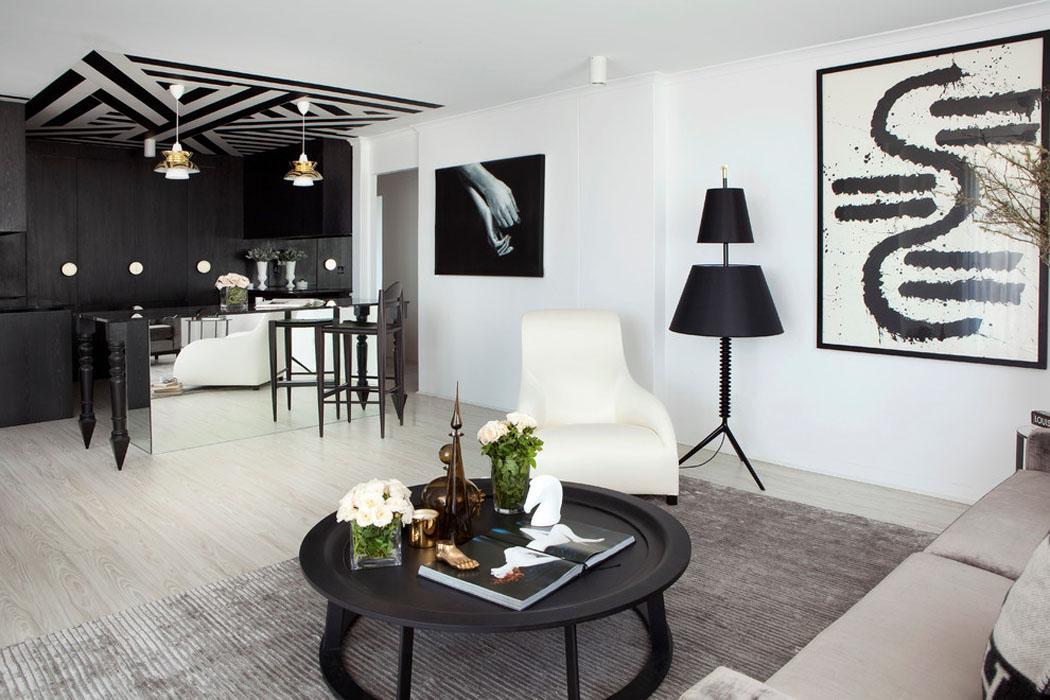 ... appartement design à Brisbane à la déco élégante en noir & blanc