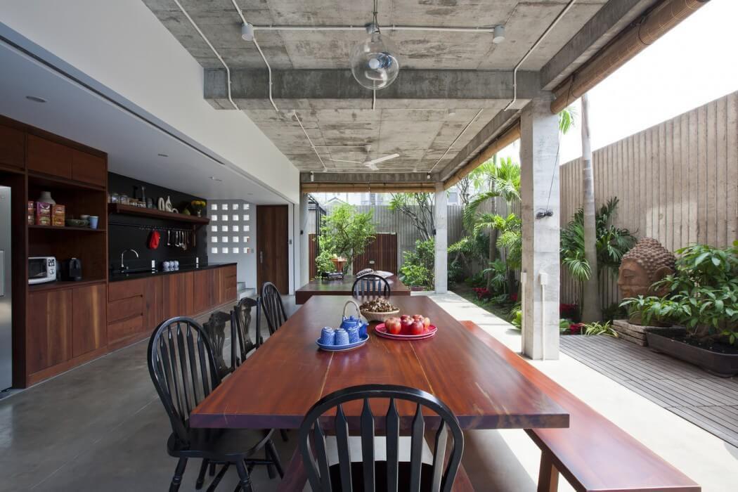 terrasse ouverte maison exotique moderne