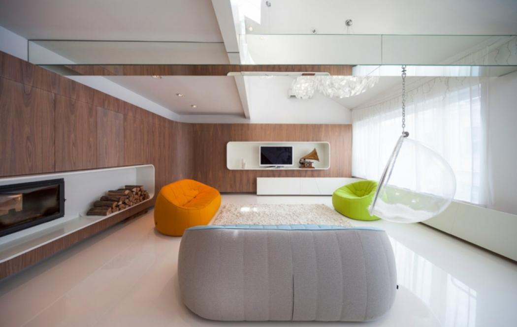 séjour loft au design contemporain futuriste