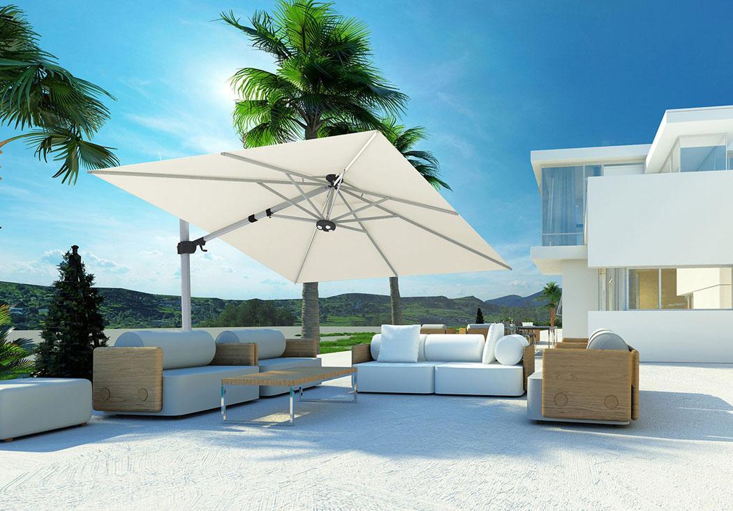 parasol excentré aménagement salon outdoor moderne
