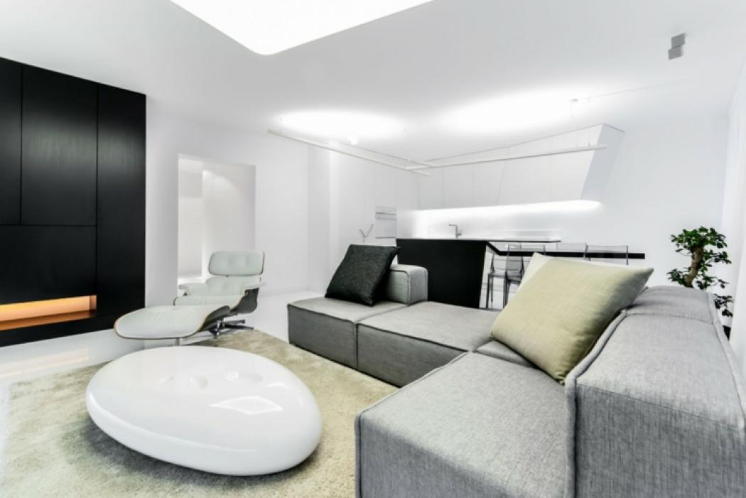 Loft de ville l int rieur design futuriste situ e - Lumieres led dans un interieur contemporain et elegant ...