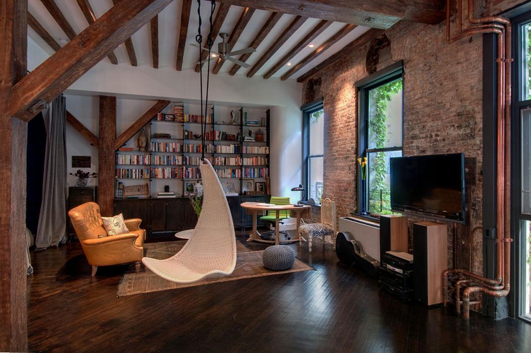 Agr able loft industriel brooklyn au caract re for Interieur loft new york