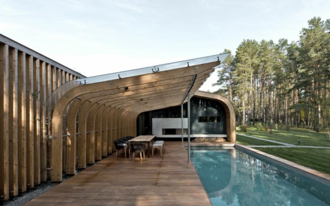 Maison plain pied l architecture contemporaine vilnius for Architecte maison bois contemporaine