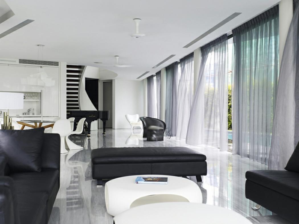Unique maison contemporaine en noir et blanc singapour vivons maison - Maison en noir et blanc ...